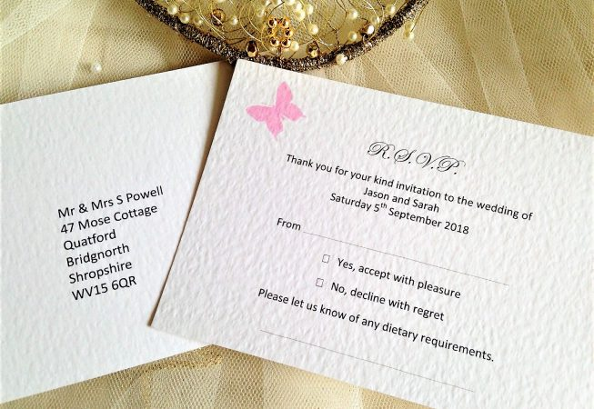 Pink Butterfly RSVP Cards and Envelopes