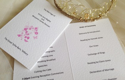 Small Pink Butterfly Order of Service Books