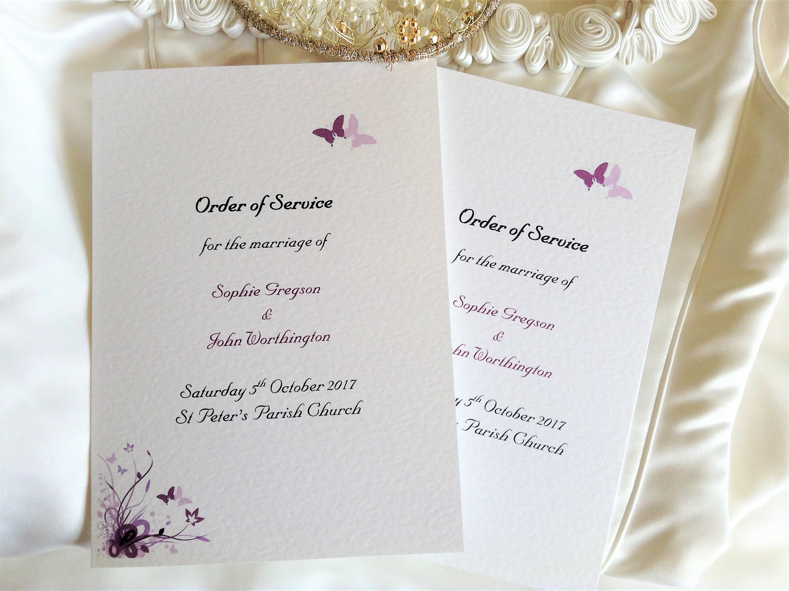 Purple and Lilac Butterfly Order of Service Books