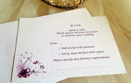 Purple and Lilac Butterfly RSVP Cards and Envelopes