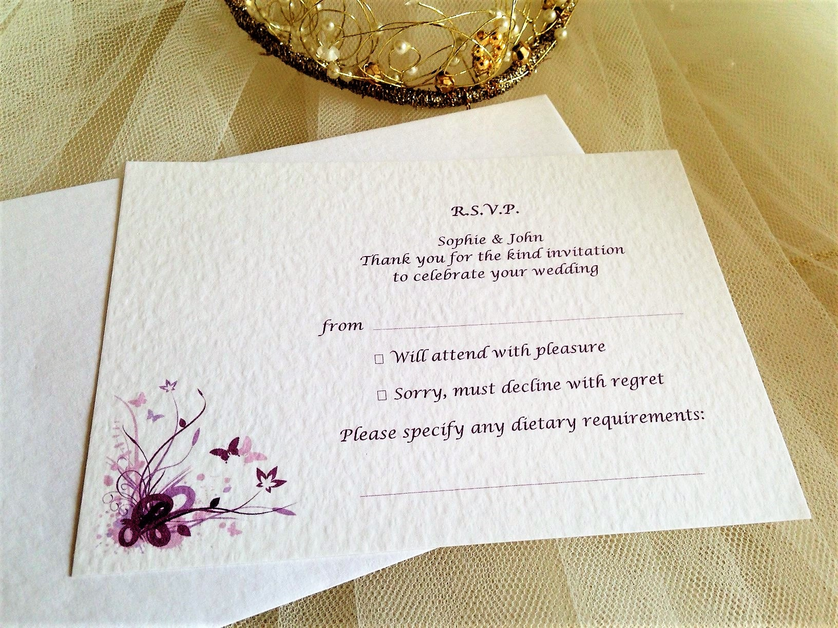 Purple and Lilac Butterfly RSVP Postcard