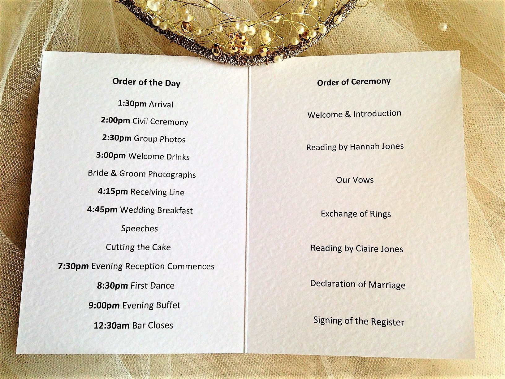 order of service wording