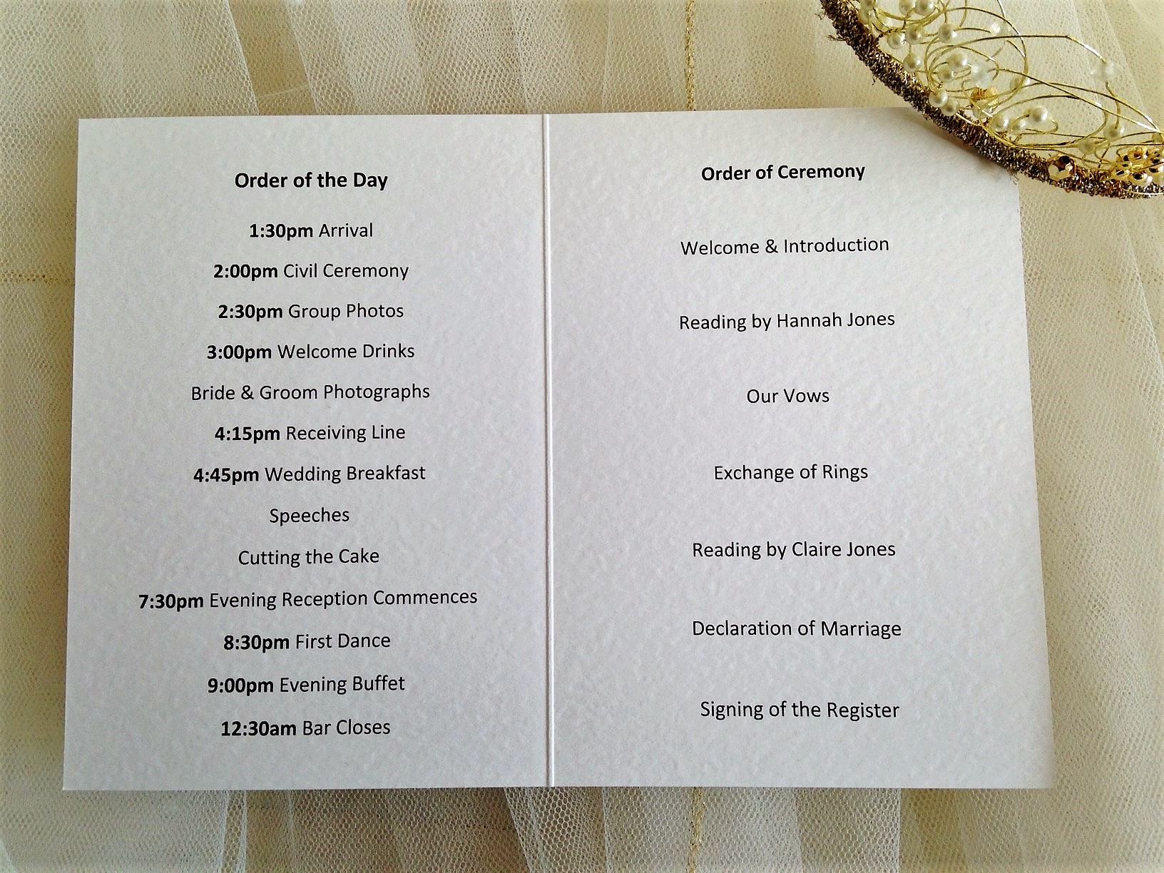 small tandem bike wedding order of service books With wedding ceremony order of service