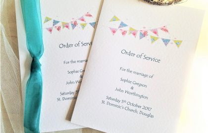Large Summer Bunting Wedding Order of Service Books