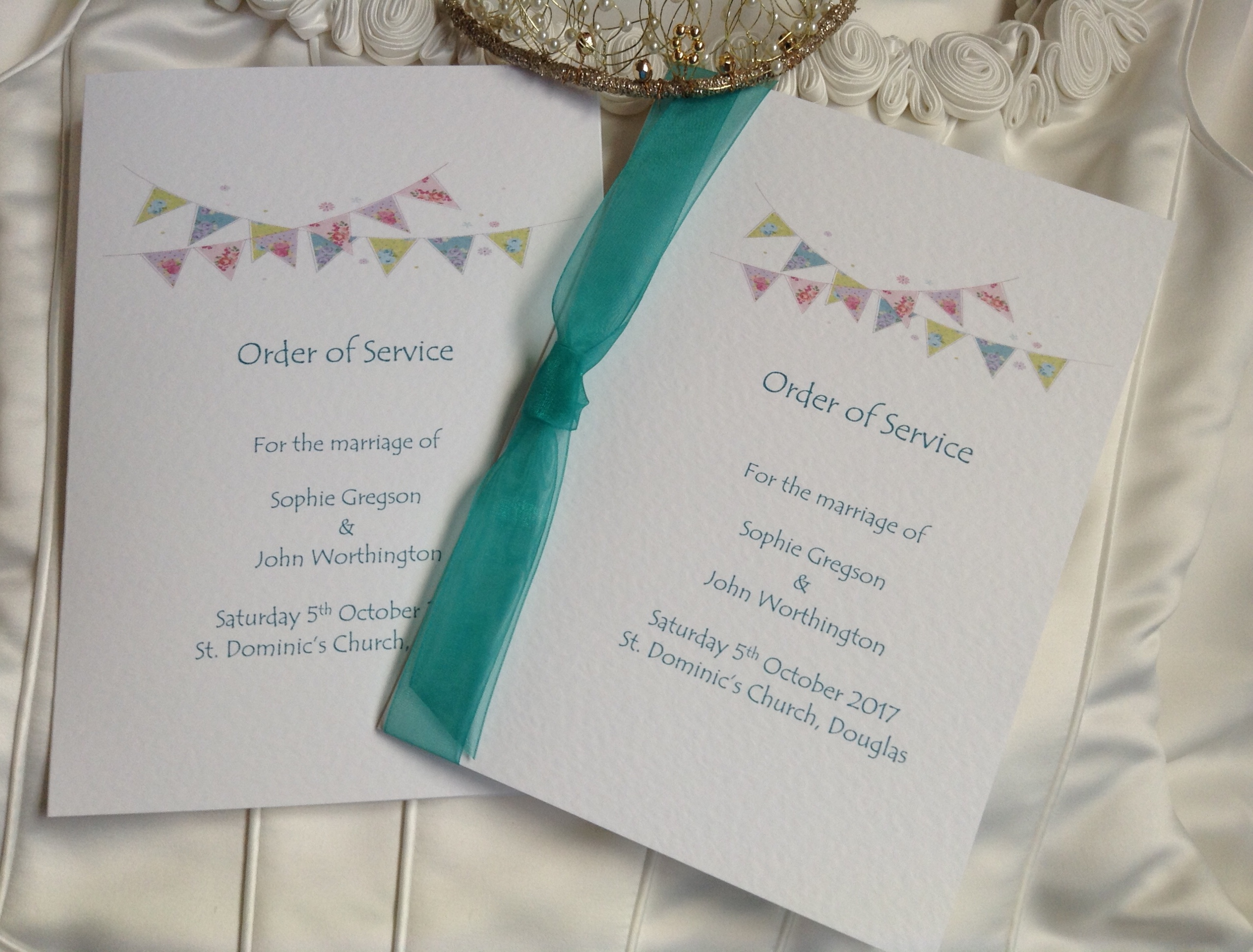A6 Summer Bunting Wedding Order of Service Books - Daisy Chain Invites