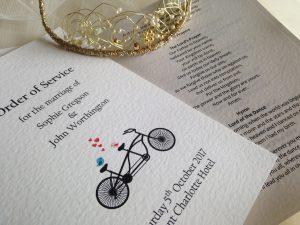 Large Tandem Bike Wedding Order of Service Books