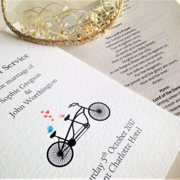 Tandem Bike Wedding Order of Service Books