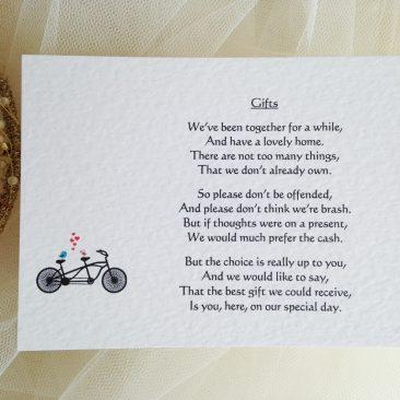 Tandem Bike Guest Information Cards