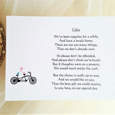 Tandem Bike Guest Information Cards