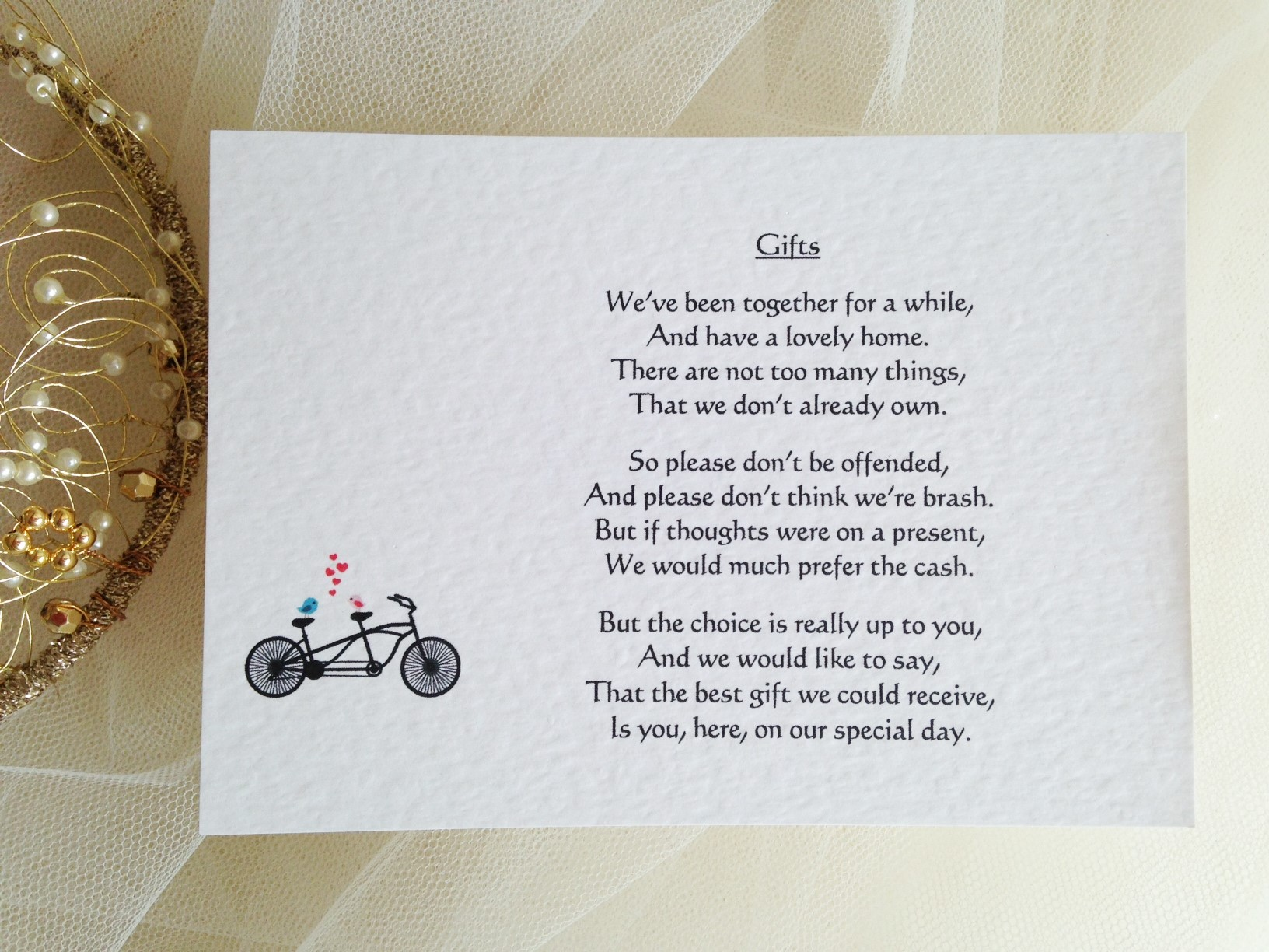 Wedding Invitation Gifts: Tandem Bike Guest Information Cards