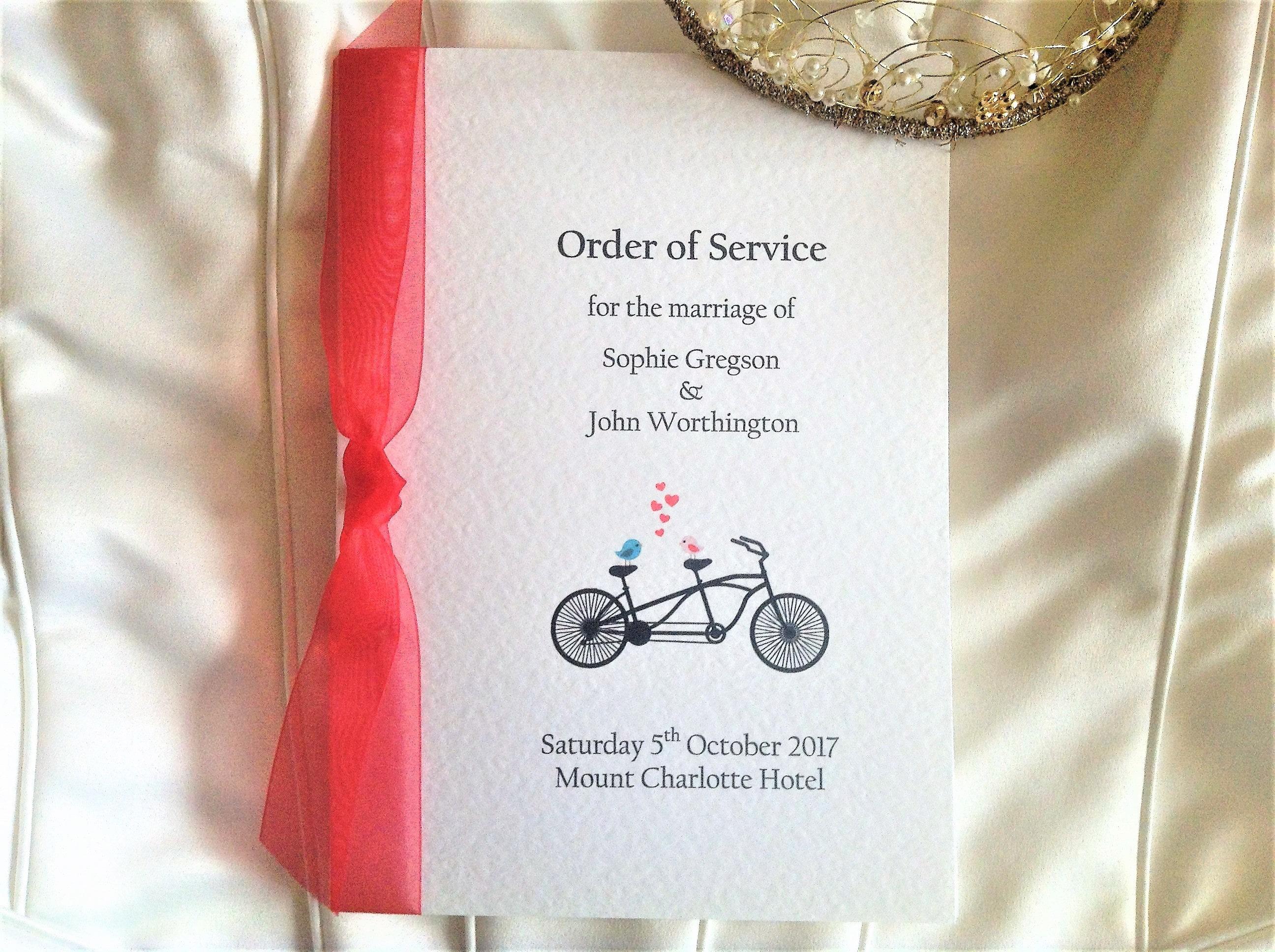 Large Tandem Bike Wedding Order of Service Books