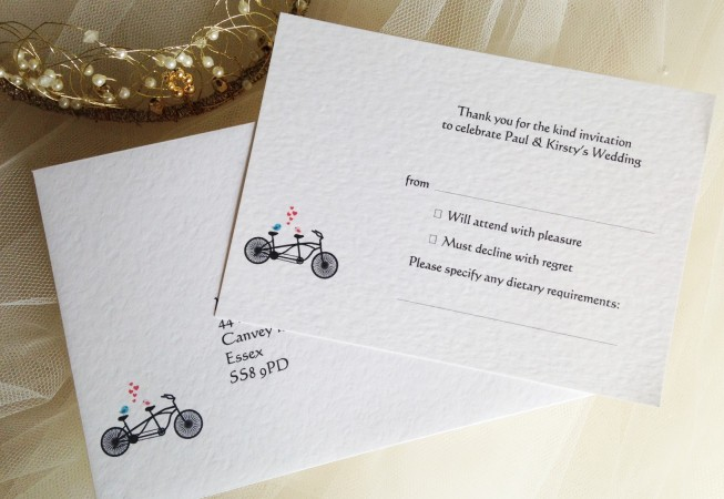 Tandem Bike RSVP Cards and Envelopes