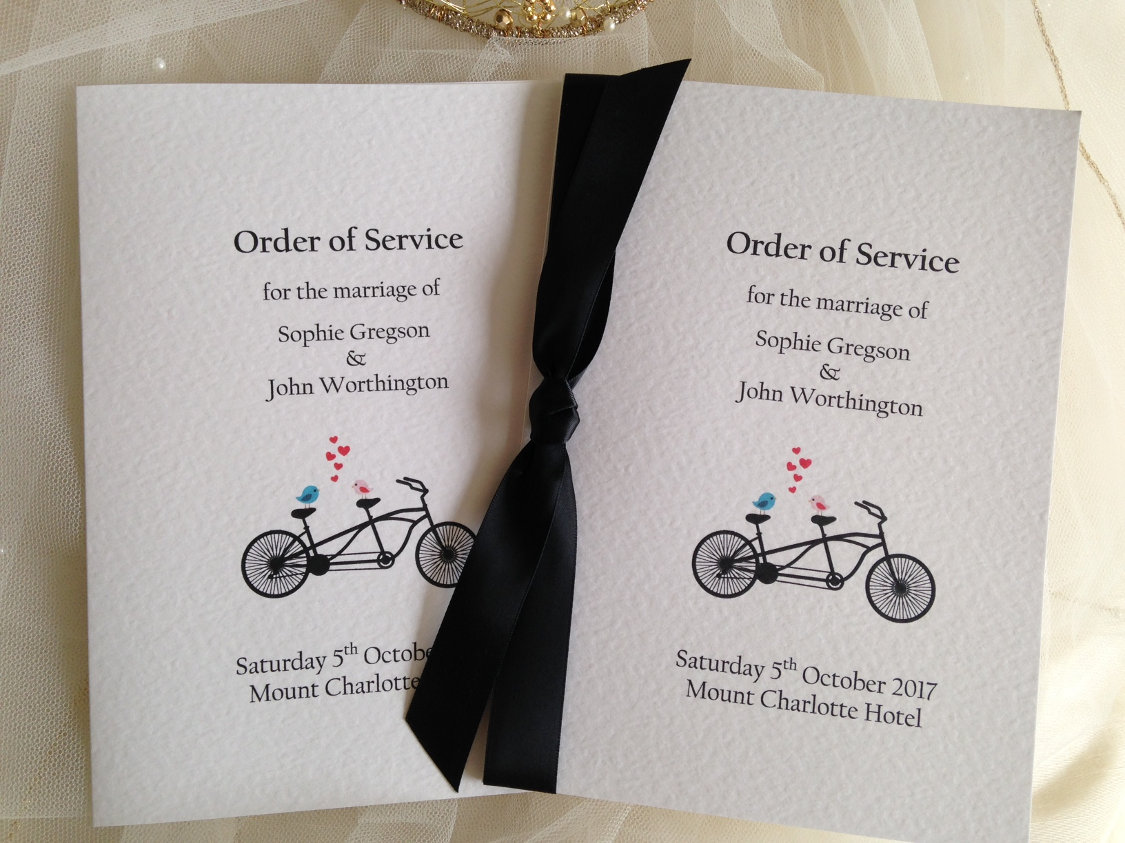 Small Tandem Bike Wedding Order of Service Books