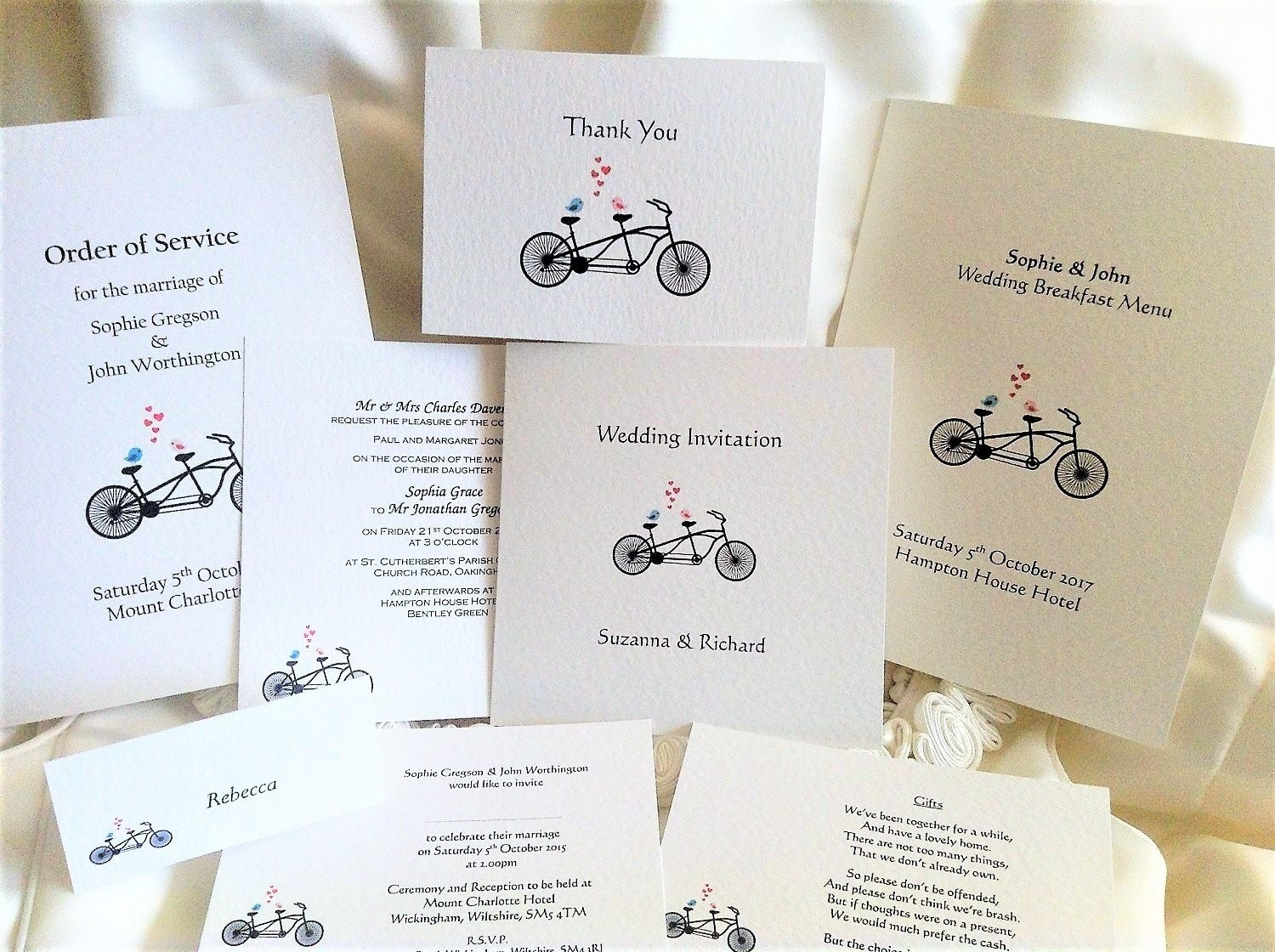 Tandem Bike Wedding Stationery