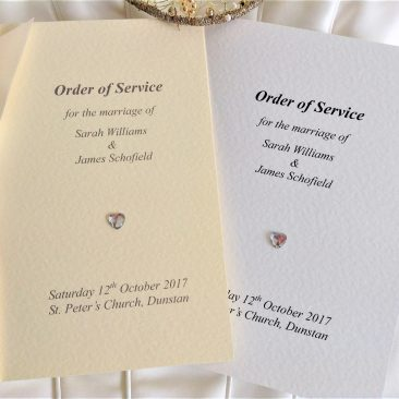 Small Diamante Heart Wedding Order of Service Books