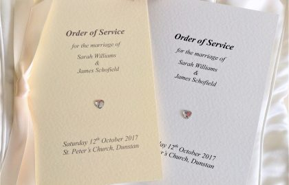 Diamante Heart Wedding Order of Service Books