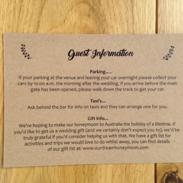 What to include on your wedding guest information cards