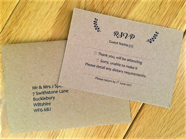 Brown Kraft Card RSVP card