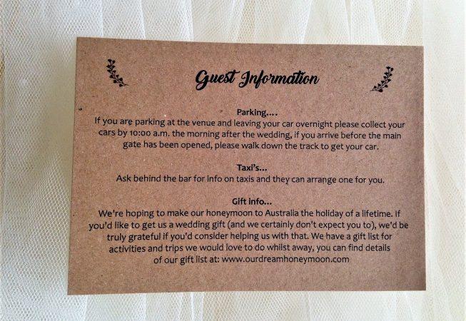 Vintage Guest Information Cards