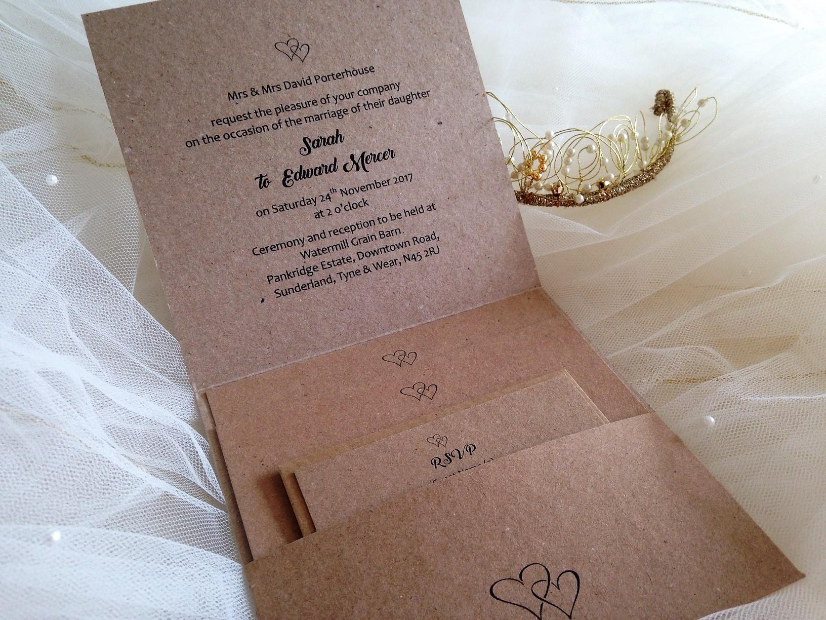Rustic Kraft Pocketfold Wedding Invitations | Stationery