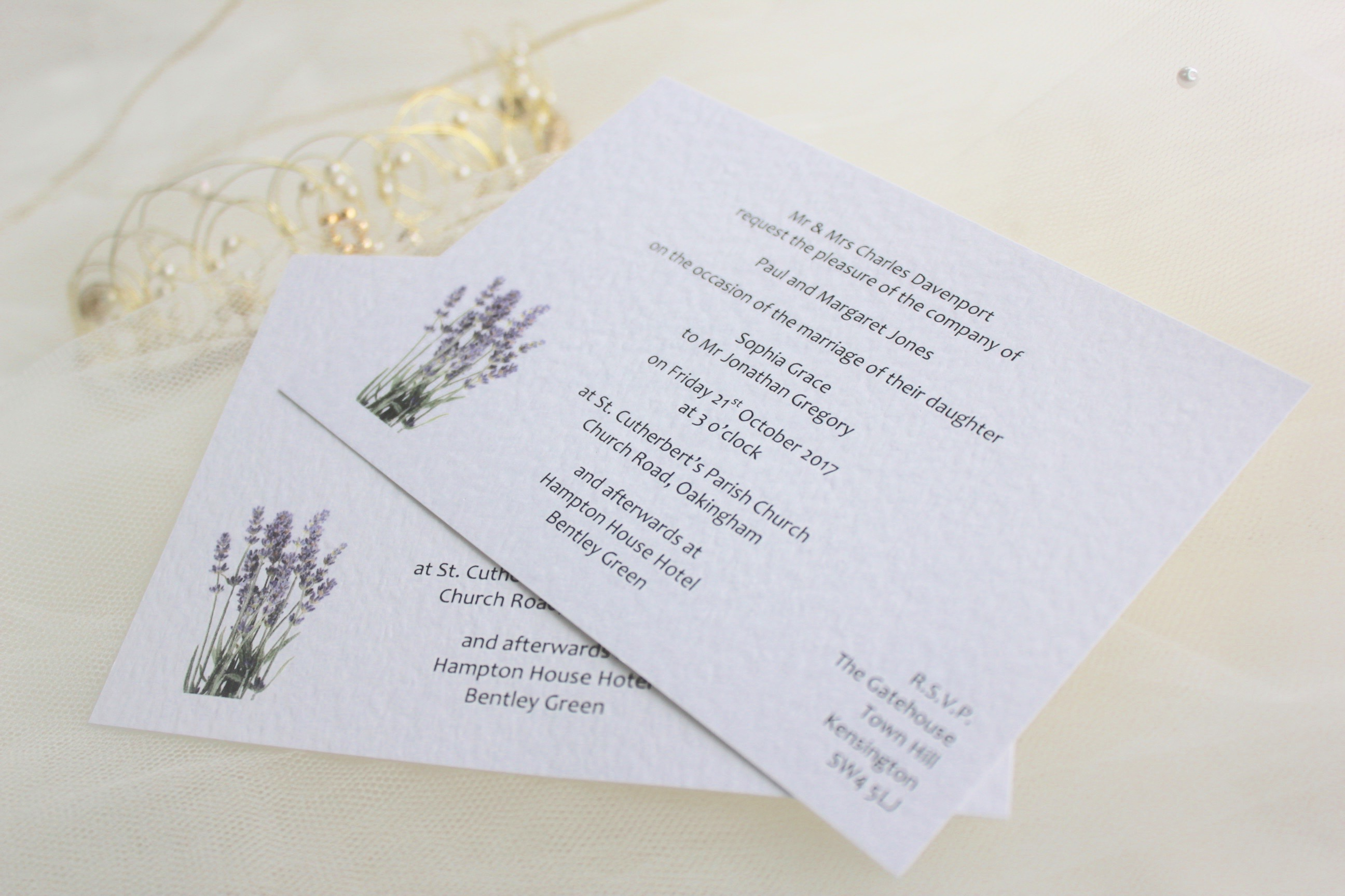 Lavender Postcard Wedding Invitations