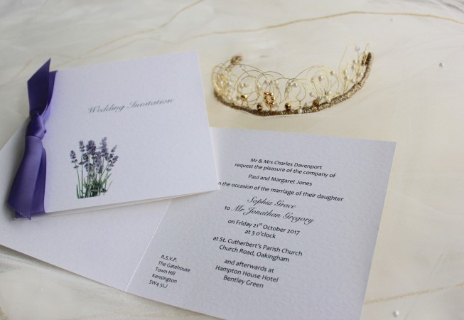 Square Centre Fold Lavender Wedding Invitations