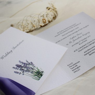 Lavender Square Centre Fold Wedding Invitations