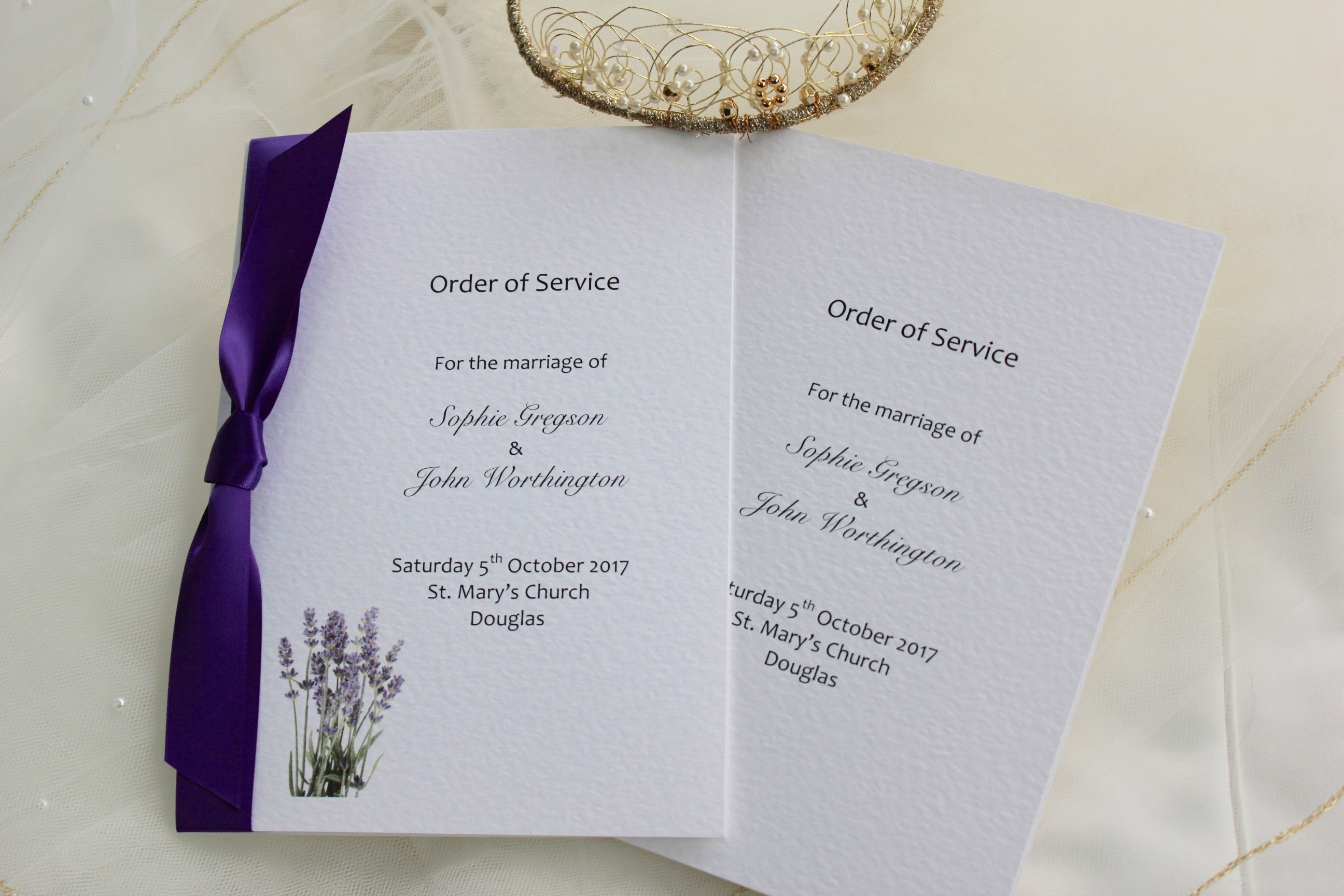 Lavender order of service books for weddings stationery for Wedding blessing order of service template