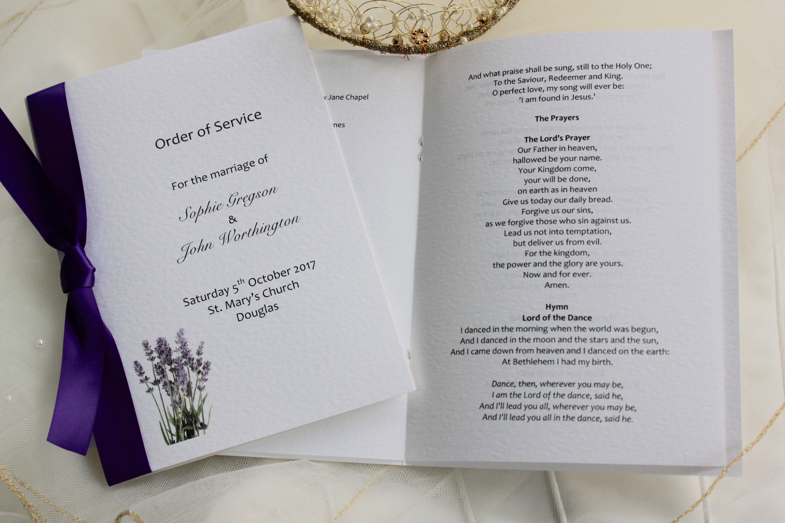 Lavender order of service books for Wedding blessing order of service template
