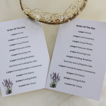Lavender Wedding Order of Day Cards