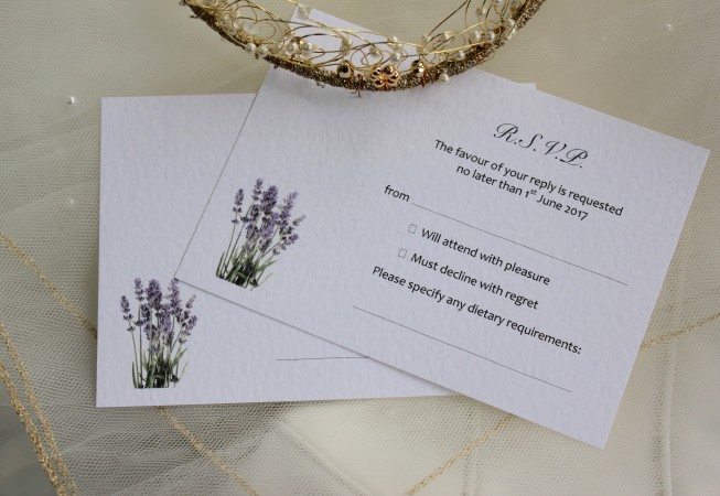 Lavender RSVP Cards and Envelopes