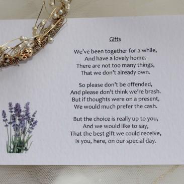 Lavender Guest Information Cards
