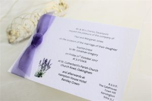 Lavender Postcard Wedding Invitations