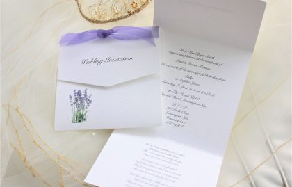 Lavender Tri Fold Wedding Invitations