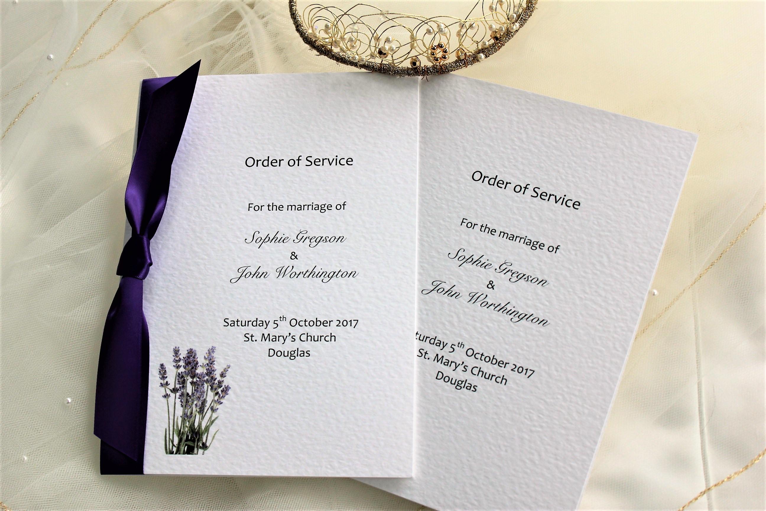 Lavender Order of Service