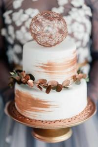 Brushed Copper styled wedding cake