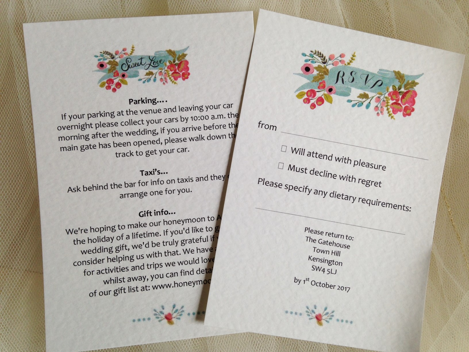 Matching guest information card available