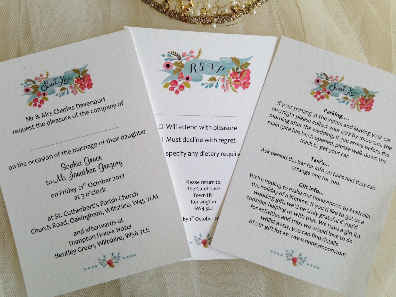 Wedding Invitation Uk: Sweet Love Postcard Wedding Invitations