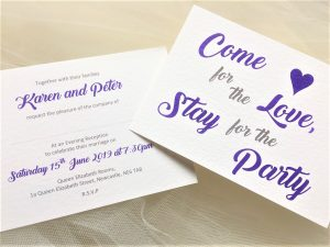 Come for the love, stay for the party invitations