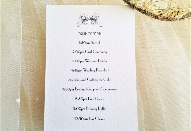 Art Deco Wedding Order of Day Cards