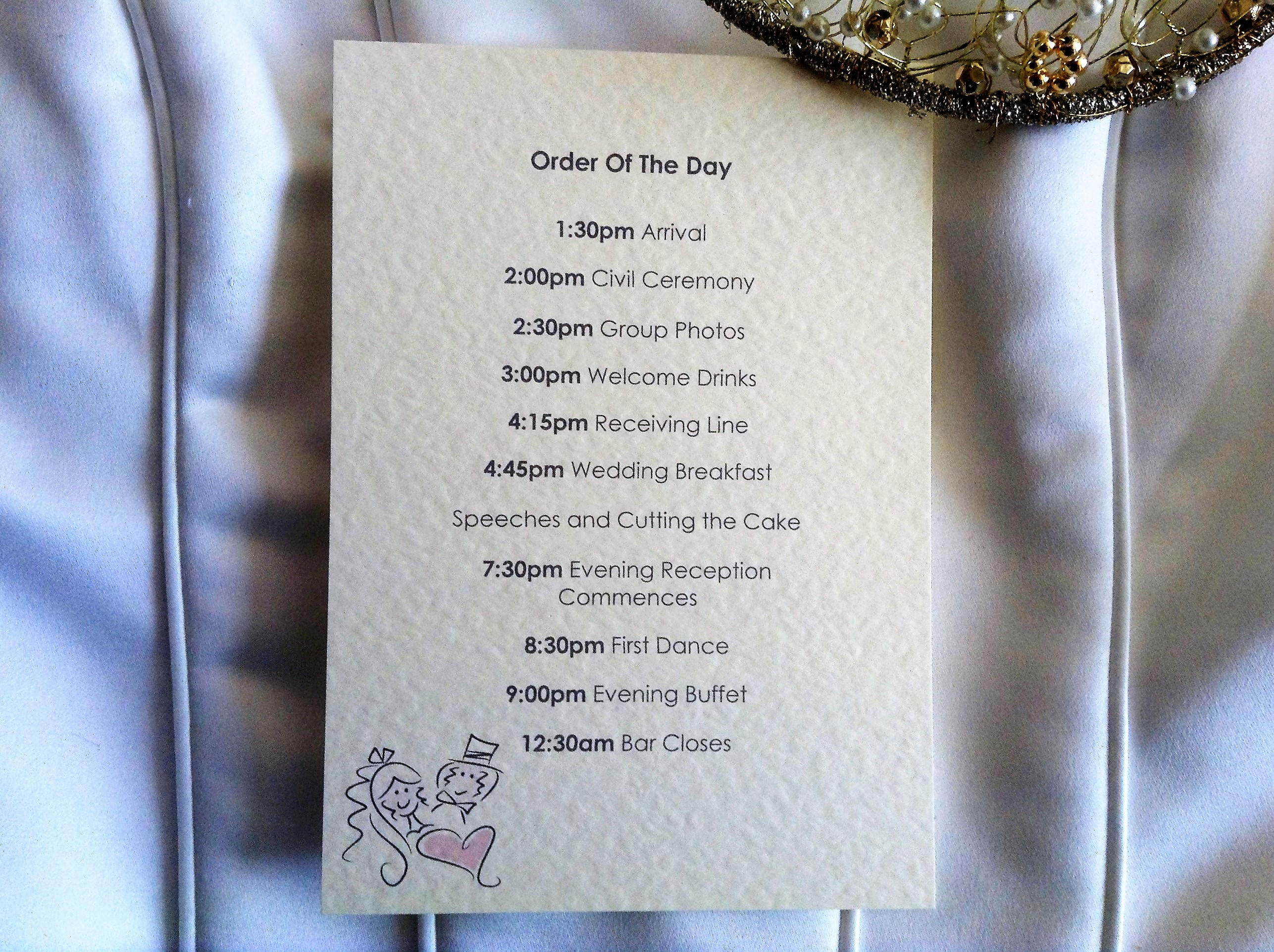 Bride and Groom Wedding Order of Day Cards | Stationery