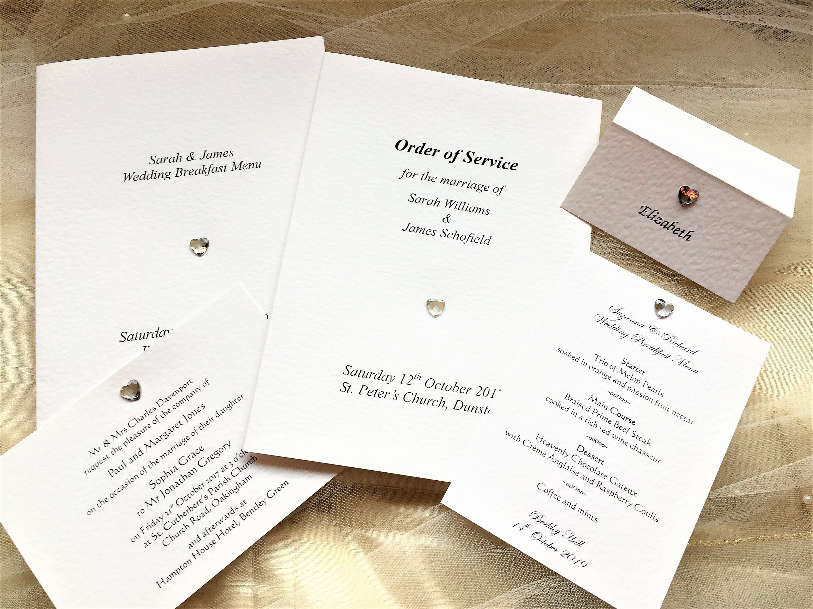 Diamante Heart Wedding Stationery