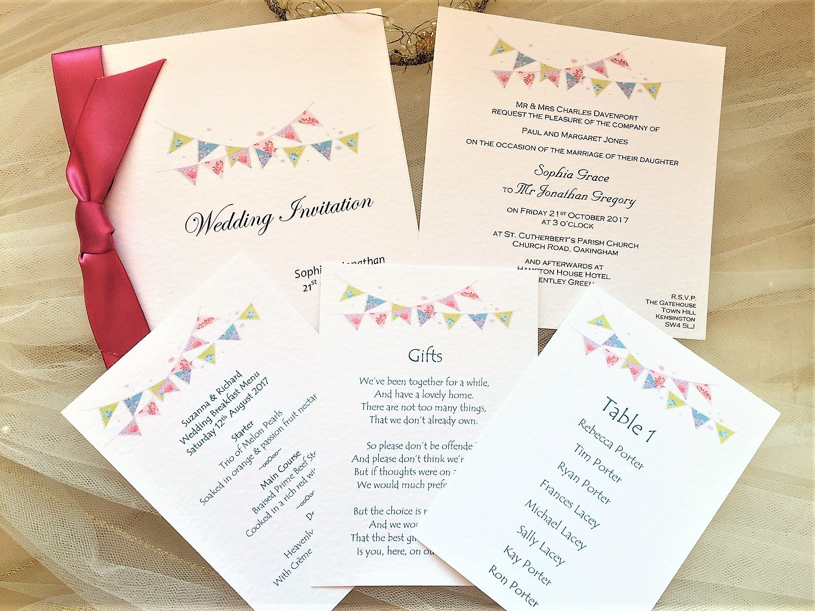 Summer Bunting Wedding Stationery
