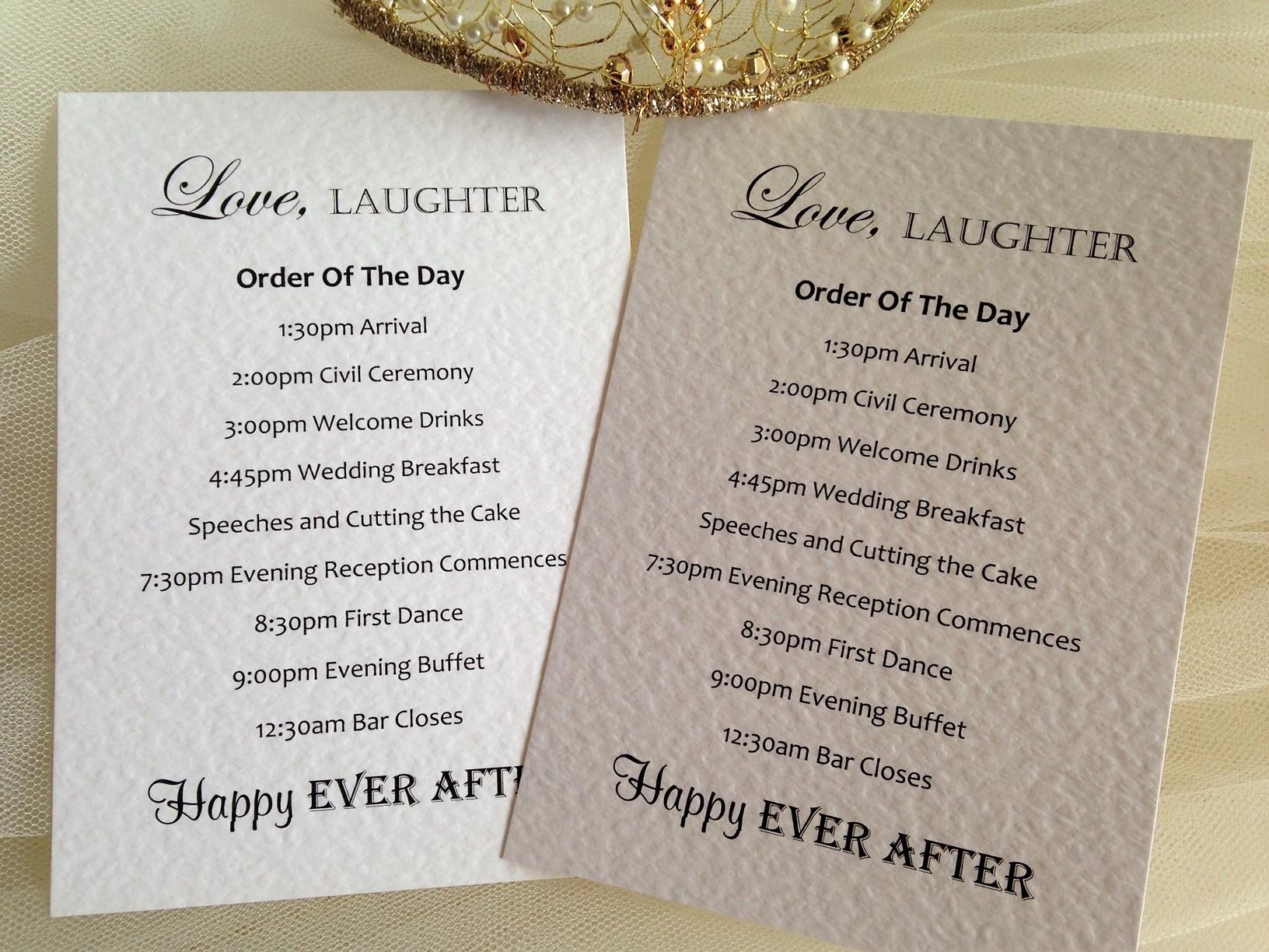 Wedding Order of Day Cards   Wedding Stationery