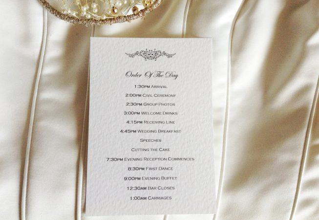 Motif Wedding Order of Day Cards
