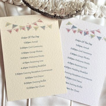 Summer Bunting Wedding Order of Day Cards