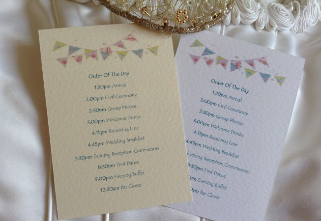 Summer Bunting Wedding Order of Service Cards