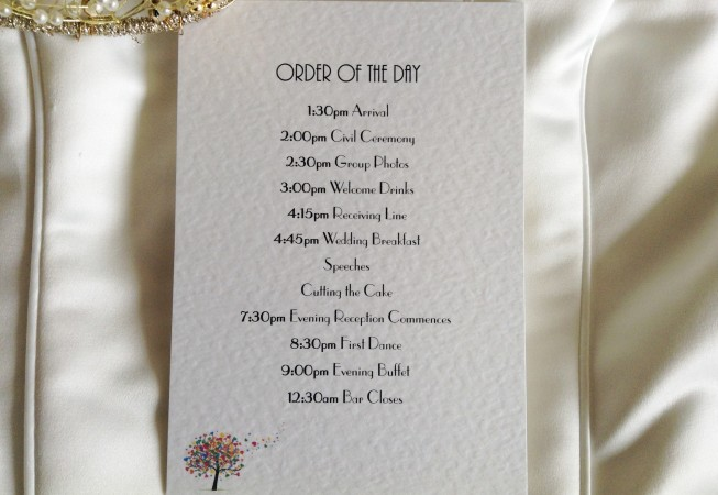 Love Tree Wedding Order of Day Cards
