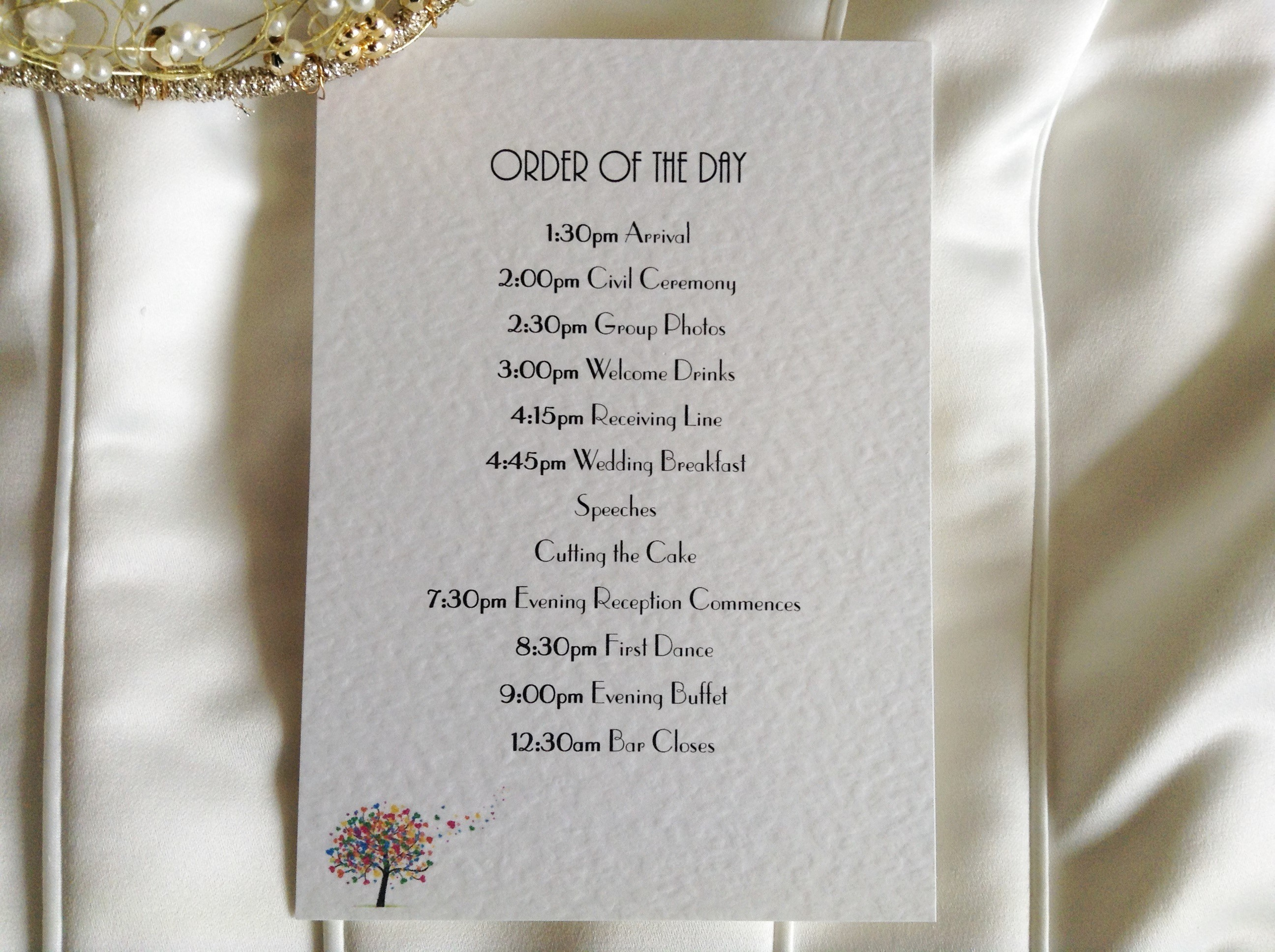 Love Tree Wedding Order of Day Cards | Stationery