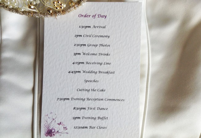 Purple and Lilac Butterfly Wedding Order of Day Cards
